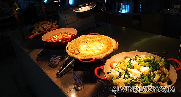 Vegetables, pies, etc