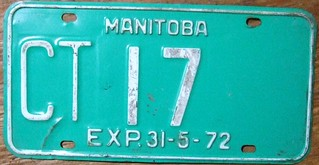 MANITOBA EXP.31-5-72--- QUARTERLY COMMERCIAL TRUCK PLATE