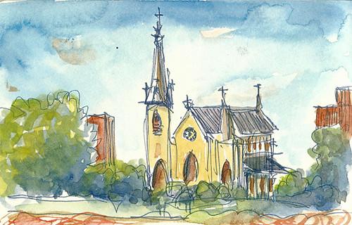 Assumption Church, Westport, CT from Saugatuck River