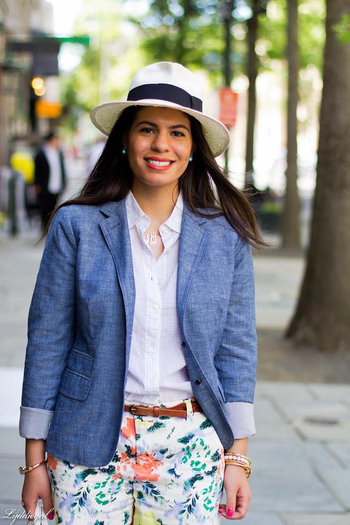 Floral shorts, chambray blazer, panama hat-9.jpg