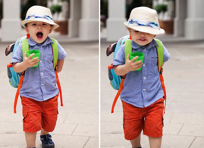 cute & little blog | kids boys spring summer fashion | fedora, chambray shirt, orange shorts, keen sandals
