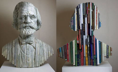 Stone bust made from books