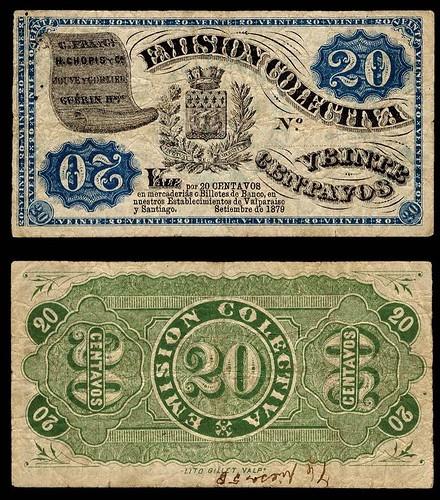 1879 chile emission colectiva 20 centavos