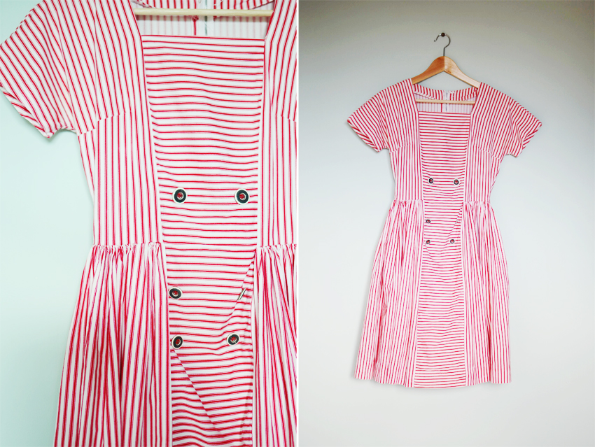 red-white-stripe-dress-1950s a