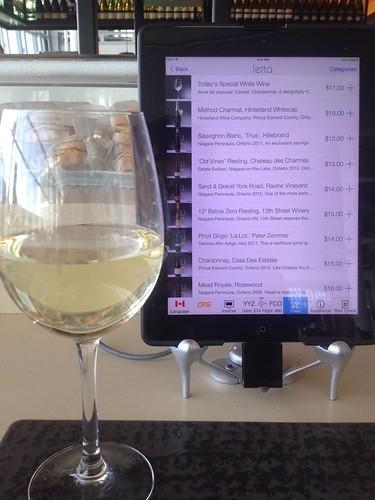 ordering wine via tablet, toronto airport
