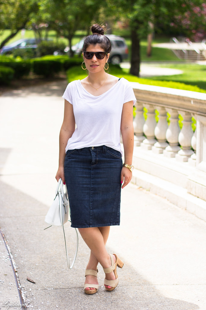 denim pencil skirt, white tee, hobie sunglasses-2.jpg