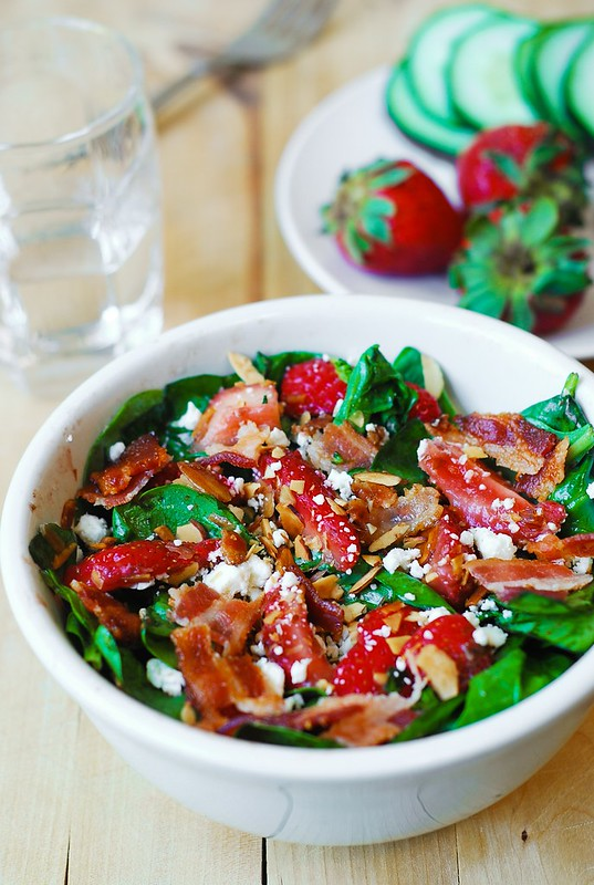Strawberry spinach salad, salad with bacon, spinach bacon salad, feta ...