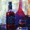 It's all about #byob in the @gaslampquarter tonight! Michael Flohr paints your favorite bottles in a series of still life sketches! #michaelflohr #jackdaniels #whiskey #bottle #sandiego #art