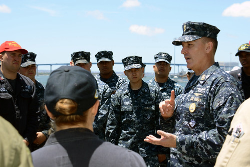 SAN DIEGO (NNS)-- Master Chief Petty Officer of the Navy (MCPON) Mike Stevens visited Sailors aboard amphibious transport dock ship USS Green Bay (LPD 20) as part of his trip to San Diego.