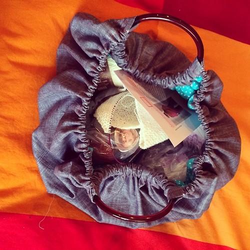 The inside of the #knitting bag