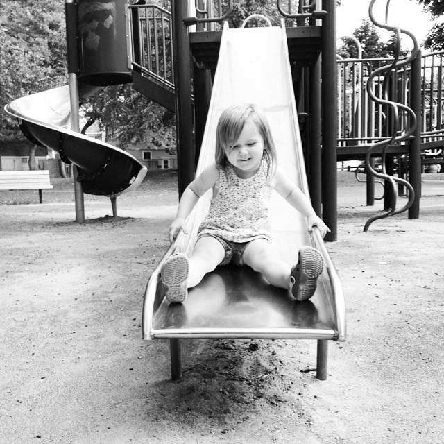 Down the big slide.