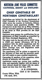 Northern Constabulary (Caithness-Orkney-Shetland) Chief Constable vacancy 1973