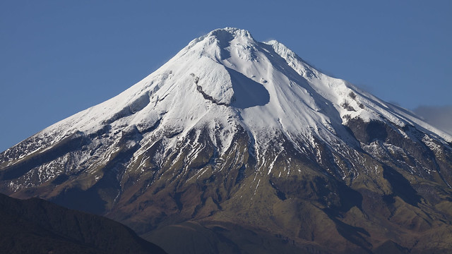 snowy cap on mount taranaki