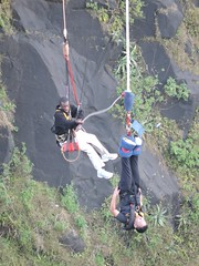 sports(0.0), sport climbing(0.0), physical exercise(0.0), adventure(1.0), bungee jumping(1.0), bungee cord(1.0), recreation(1.0), outdoor recreation(1.0), extreme sport(1.0), person(1.0),
