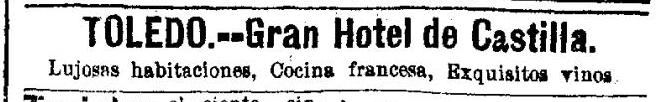 anuncio hotel castilla 1896 la epoca