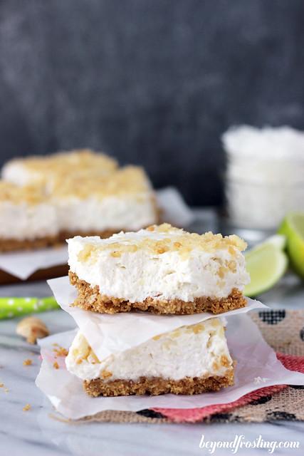 No-Bake Coconut Lime Cheesecake Bars | beyondfrosting.com