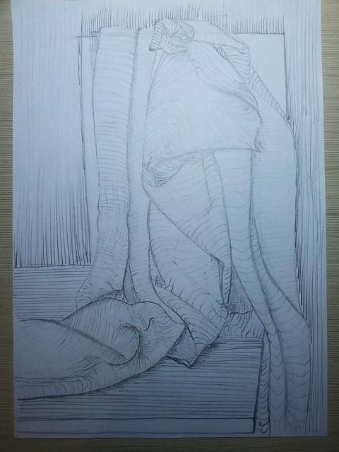 drapery, pencil