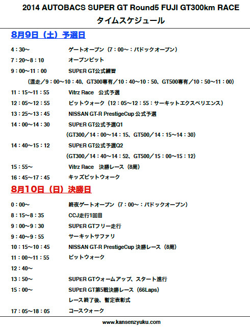 2014SUPERGT第5戦富士タイムスケジュール