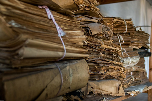 Piles of abandoned historical papers