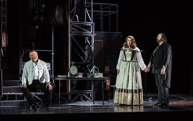 Bryn Terfel, Rachel Willis-Sørensen and Gwyn Hughes Jones in Die Meistersinger von Nürnberg, The Royal Opera © 2017 ROH. Photograph by Clive Barda
