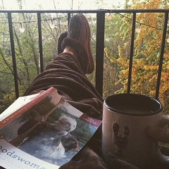 Slow mornings and coffee make the world all right. #woodswoman, #annelabastille, #coffeeandabook