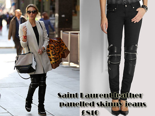 Saint Laurent leather detail biker jeans