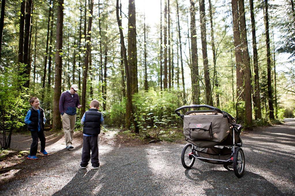 Campbell Valley Park with a double jogging stroller