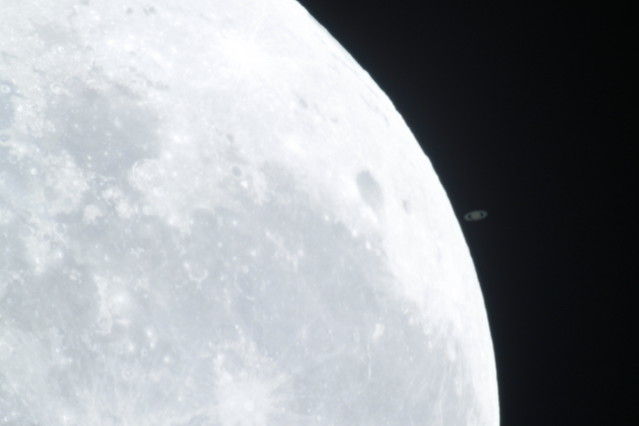 Saturn getting very very closer to the Moon