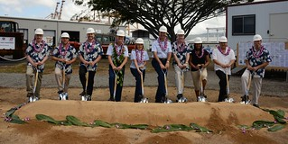 "Rear Adm. Meredith Austin, Chief of Staff for the 14th Coast Guard District, joined representatives from Coast Guard Base Honolulu and Mortenson's Federal Contracting Group in a groundbreaking ceremony for the construction of a new building at Sand Island to support the Fast Response Cutters, Wednesday. The building will provide maintenance and logistics support for the cutters, which are scheduled to replace the aging fleet of 110-foot patrol boats currently serving the Hawaiian Islands. For more information about the Coast Guard's Fast Response Cutter, visit <a href=""http://www.uscg.mil/Acquisition/frc/default.asp"" rel=""nofollow"">www.uscg.mil/Acquisition/frc/default.asp</a>. (U.S. Coast Guard photo by Petty Officer 3rd Class Melissa E. McKenzie)"