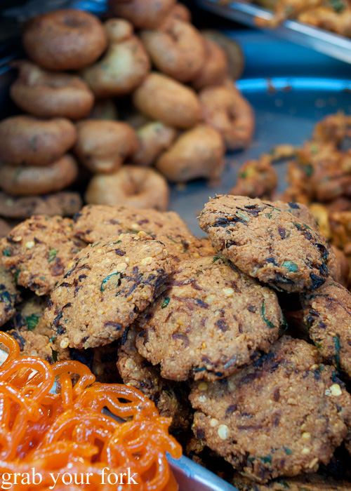 Masala vadai fritters Indian street food from Al Shaab Restaurant near the Textile Souk