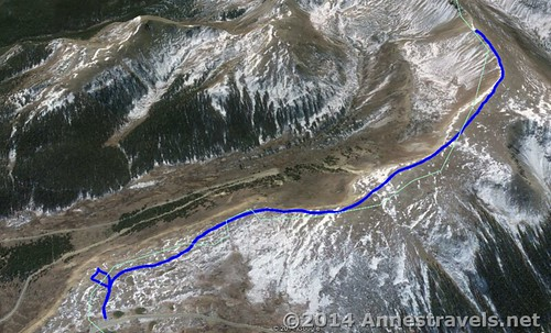 Visual map of the hike from Independence Pass up UN 12812 - down in North. San Isabel National Forest and White River National Forest, Colorado