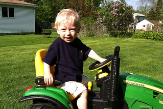 Jacob's turn on the tractor.