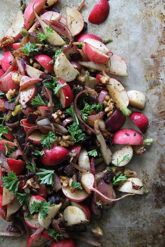 Hot Radish, Bacon and Walnut Salad