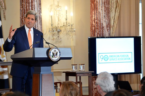 U.S. Secretary of State John Kerry delivers remarks at an event celebrating the 90th Anniversary of the United States Foreign Service at the U.S. Department of State in Washington, D.C., on May 22, 2014. The modern Foreign Service was created on May 24, 1924. Photo Credit: U.S. Department of State.