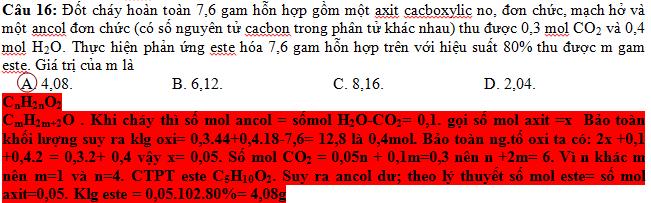 Đốt cháy hoàn toàn 7,6 gam hỗn hợp gồm một axit cacboxylic no