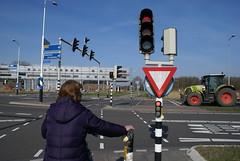 Fietser voor stoplicht