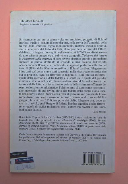 Roland Barthes, Variazioni sulla scrittura. Einaudi 1999. [Responsabilità grafica non indicata]. Quarta di copertina (part.), 1