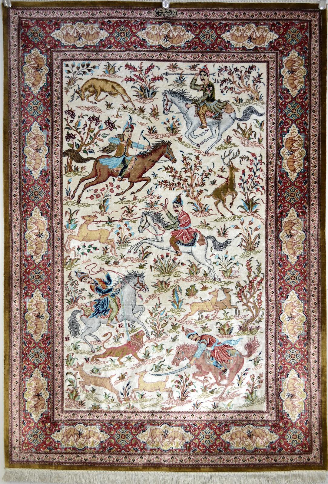 Qum Hunting Scene Silk Persian Rug Item Pa 109