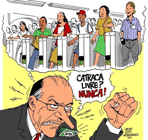 Catraca livre é prejuízo direto ao patrão. Pergunte ao @geraldoalckmin_ #Charge @Metroviarios_SP, por Carlos Latuff