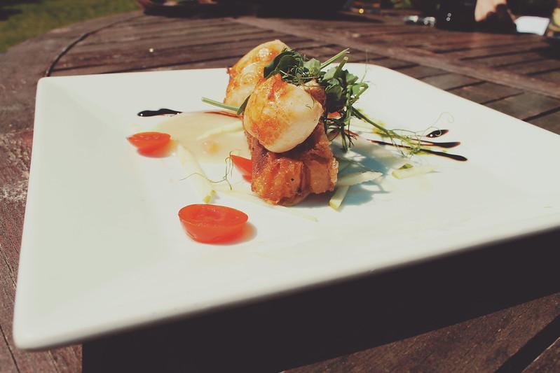 Starter - scallops and pork belly