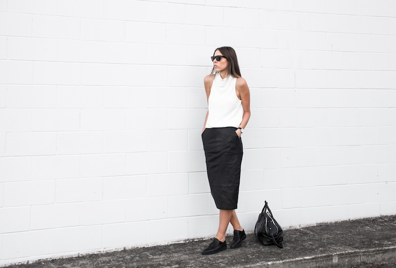 modern legacy blog street style off duty Camilla and Marc high neck white top ASOS leather pencil skirt Helmut Lang oxfords loafers monochrome minimalist Alexander Wang blogger what to wear to work (9 of 10)