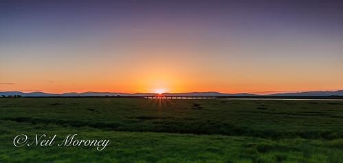 county bridge ireland sunset nature reserve railway northern derry ulster nir loughfoyle donegalhills innishowen riverroe roeestuary