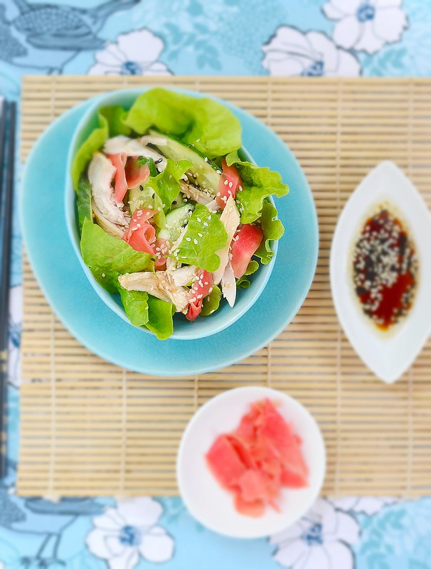 Salad from smoked chicken and cucumbers in Asian style