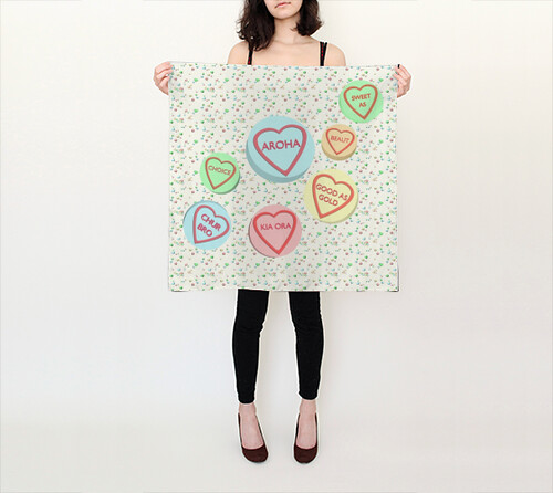 Kiwi Sweet Hearts Scarf by Squibble Design