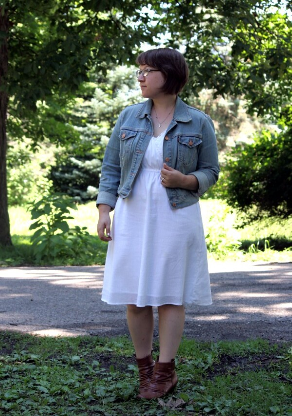 little white dress, denim jacket, brown ankle boots