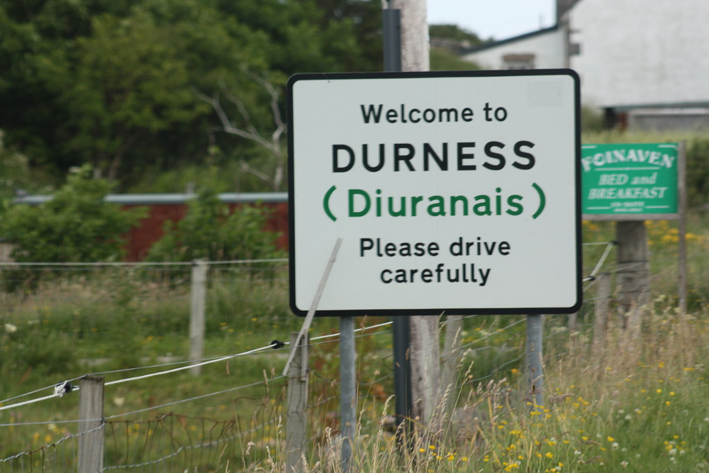 Highland road sign for Durness