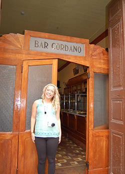 Paige in front of the Cordano Bar, one of the oldest in Lima and where presidents and politicians eat.