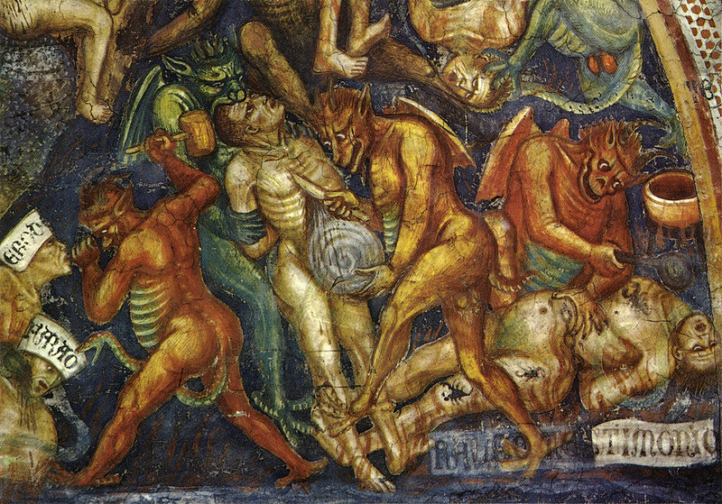 Taddeo di Bartolo - The Last Judgment (detail of envy) c.1394