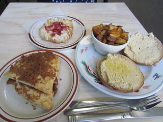 Sweetpea: Hummus Bagel, Breakfast Potatoes, Brown Sugar Scone, Lemon Strawberry Danish