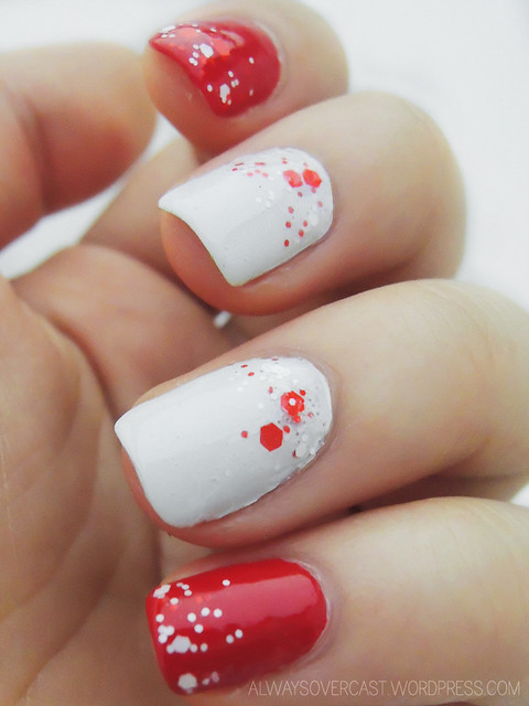 Canada Day Glitter Gradient Nail Art